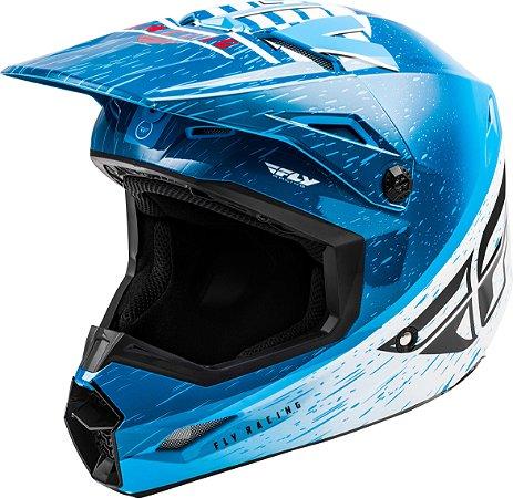 Capacete Motocross Enduro Trilha Fly Kinetic K120 Azul / Branco 60