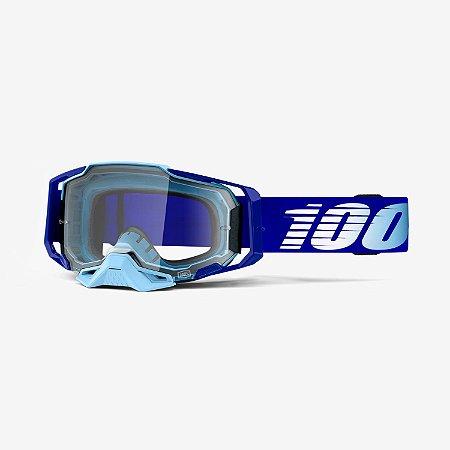 Oculos Motocross Enduro Trilha 100% Armega Transparente Azul