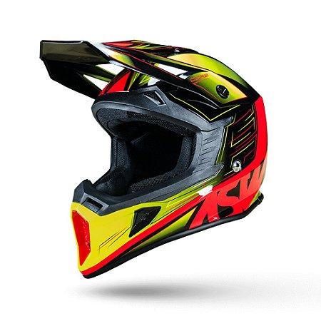 Capacete Motocross Enduro Trilha ASW Core Rush Preto / Amarelo 58
