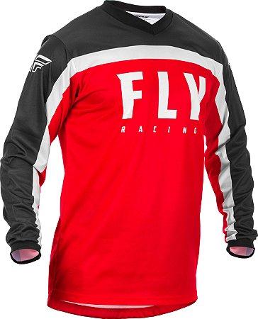 CAMISA FLY F16 2020 MOTOCROSS TRILHA VERMELHO/PRETO GG