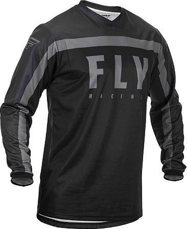 CAMISA MOTOCROSS TRILHA ENDURO FLY F16 2020  PRETO CINZA G