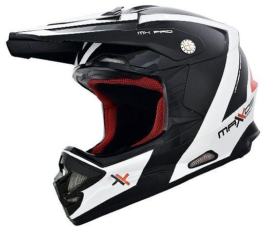 CAPACETE MOTOCROSS MATTOS RACING MX PRO PRETO BRANCO  60