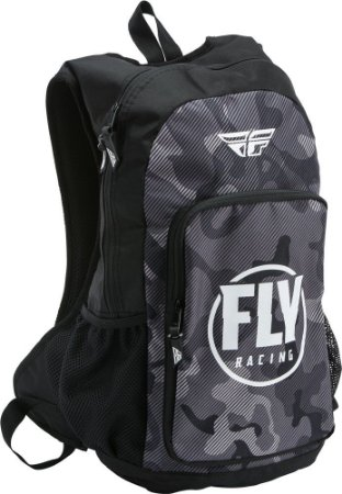 MOCHILA MOTOCROSS NOTEBOOK FLY RACING JUMP CINZA PRETO CAMO