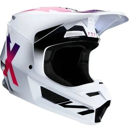 CAPACETE MOTOCROSS FOX MX CAP V1 MVRS WERD BRANCO TAM 60