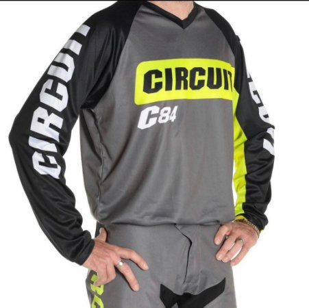 Camisa motocross Circuit Marea Preto Verde Fluor Tam G