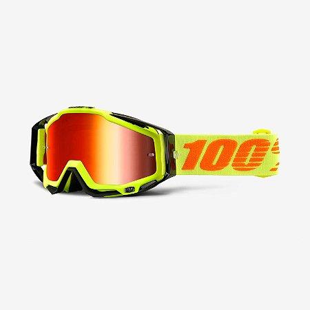 OCULOS 100% TRILHA RACECRAFT ATTACK YELLOW AMARELO FLUOR