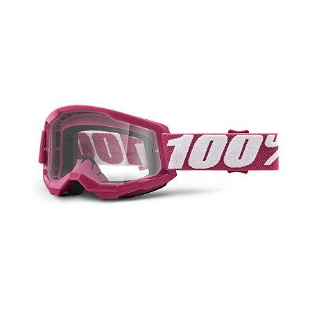OCULOS MOTOCROSS TRILHA 100% STRATA 2 FLETCHER CRISTAL ROSA