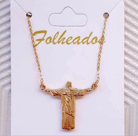 Colar Cristo Redentor Folheado - Dourado