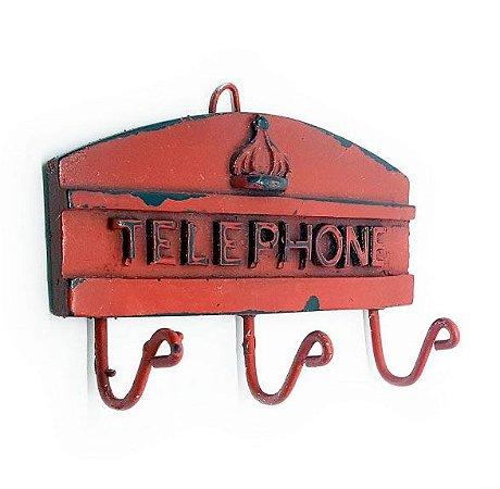 Cabideiro Porta Chaves Rústico London Telephone - Resina