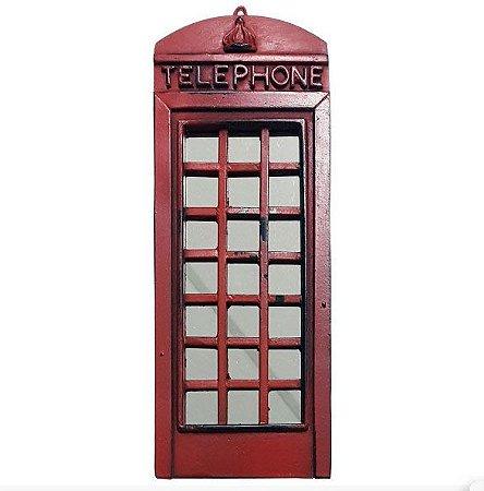 Enfeite Rústico com espelho Cabine Telefônica Londres - Resina