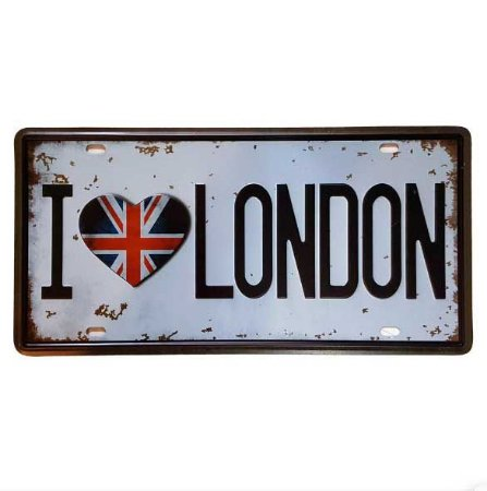 Placa de Metal Decorativa I Love London