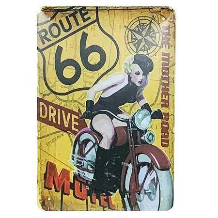 Placa de Metal Route 66 - The Mother Road