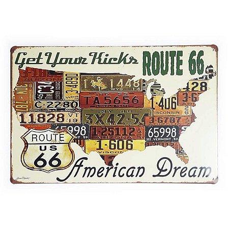 Placa de Metal Route 66 - Get Your Kicks