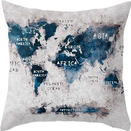 Capa de almofada Mapa Múndi Continentes