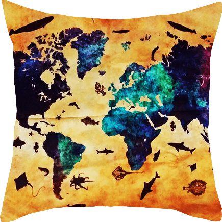Capa de almofada Mapa Múndi Mar