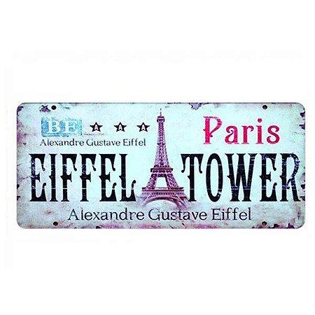 Placa Decorativa de Carro em MDF - Paris Eiffel Tower
