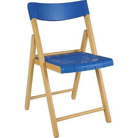 Cadeira de Madeira Dobrável Potenza Verniz com Azul Tramontina 13794080