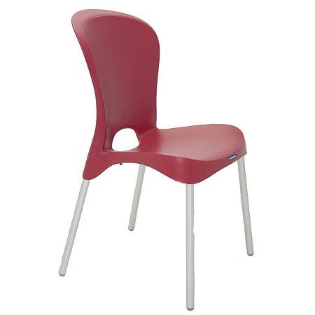 Cadeira com Pernas Anodizadas Jolie Vermelha Tramontina 92060040