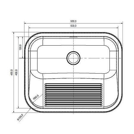 Tanque Simples Quadrado Aço Inox Alto Brilho 32L Franke