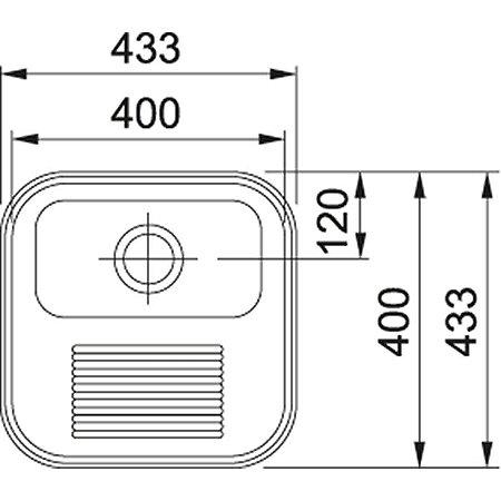 Tanque Monobloco Acetinado Franke 43X43Cm Código 16007