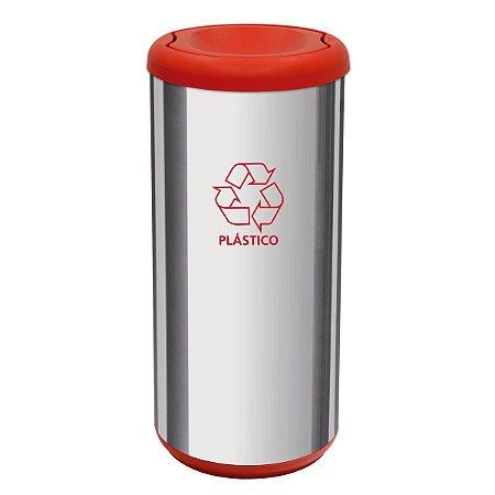 Lixeira Cápsula Selecta Plus com Tampa Basculante Vermelho Aço Inox Tramontina 94539202