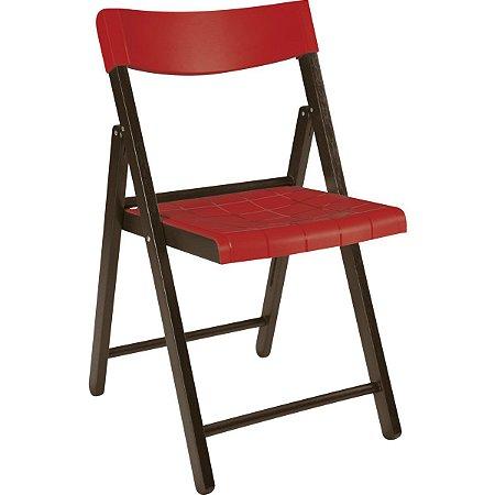 Cadeira de Madeira Dobrável Potenza Tabaco com Vermelho Tramontina 13792084