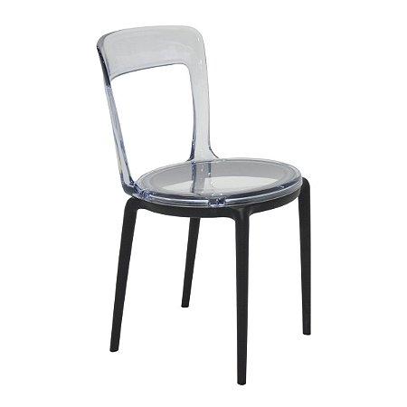 Cadeira em Policarbonato Luna Transparente/Preto Tramontina 92090219