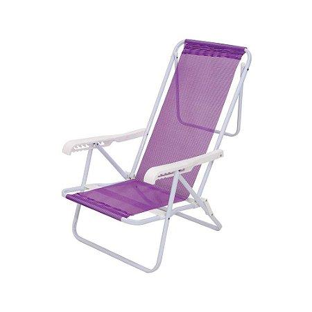 Cadeira Reclinável Aço 8 Posições Lilás