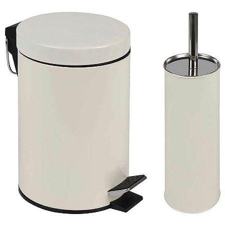 Conjunto Ágata Lixeira 3 Litros e Escova para Higienização de Vaso Sanitário Beg