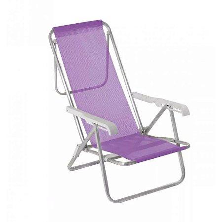 Cadeira Reclinável 8 Posições Alumínio Lilás