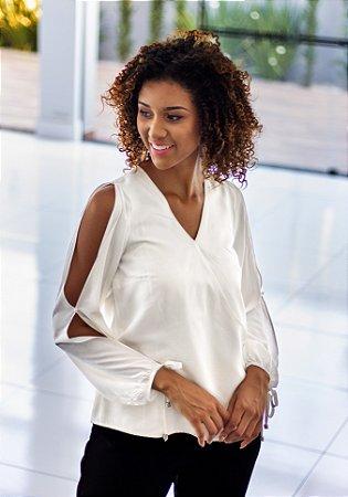 Blusa Básica Branca Manga Amarração