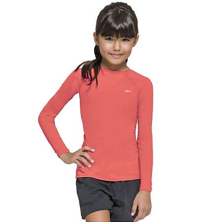 Camisa térmica Infantil Proteção Solar Uv 50+ Manga Longa Selene Coral