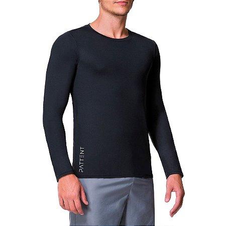 Camisa Térmica Masculina Preta Manga Longa com Proteção Solar UV50+