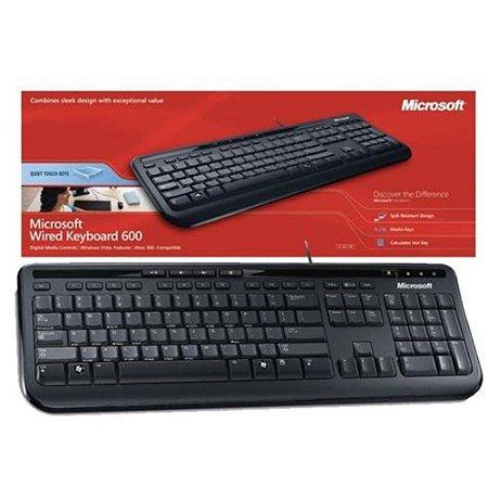 Teclado Microsoft USB ABNT2 Wired Preto 600