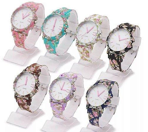 Kit 10 Relógios Femininos Floridos em Silicone Atacado