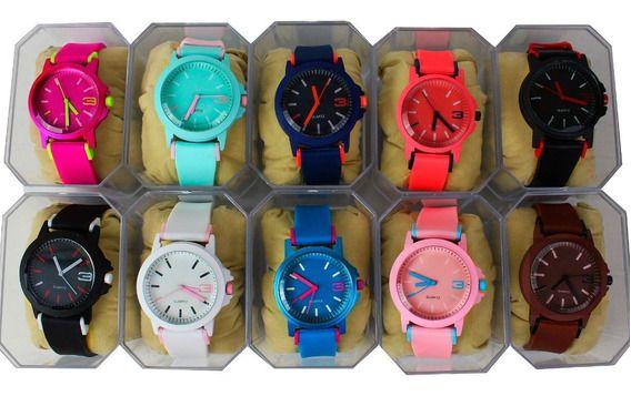 Kit 05 Relógios Femininos Colors em Silicone + Caixinhas
