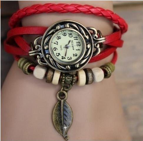 Kit 03 Relógios Femininos Vintage Em Couro Atacado
