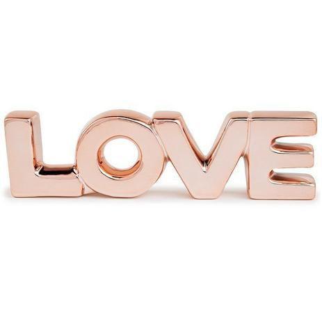 LETREIRO LOVE ROSE GOLD EM CERAMICA