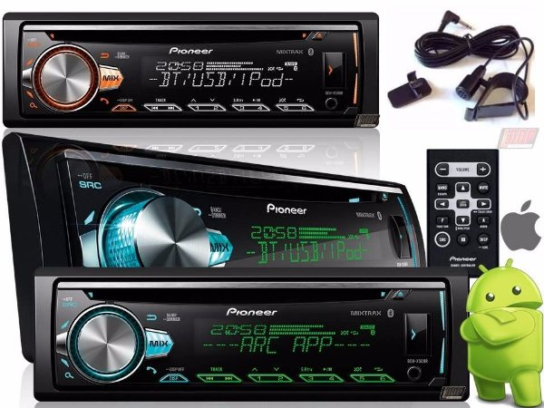 CD Player Pioneer DEH-X50BR Mixtrax Bluetooth USB Interface Android IOS
