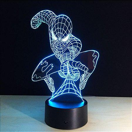 Luminária Led Homem Aranha 03 Cores