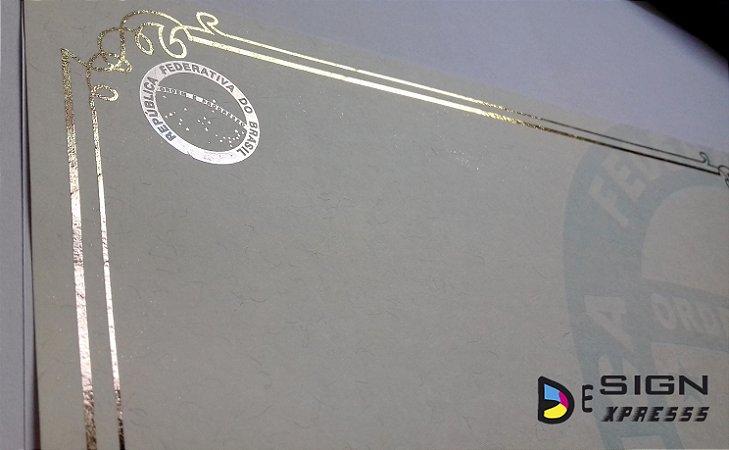 Papel Moeda A4 - Certificado Bordas Douradas ou Prata (Modelo 01 ) 10Unid