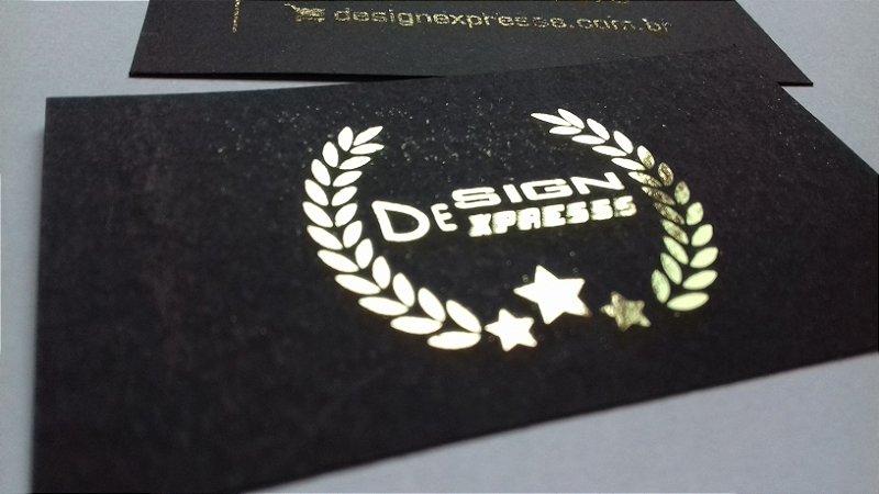 Cartão de Visita Preto com Dourado ou Prata - 1000Unid