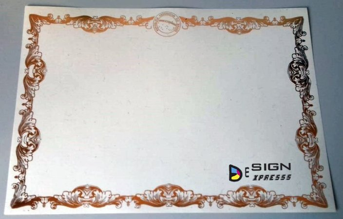 Papel Moeda A4 AZUL - Certificado Bordas Douradas ou Prata (Modelo 03 )