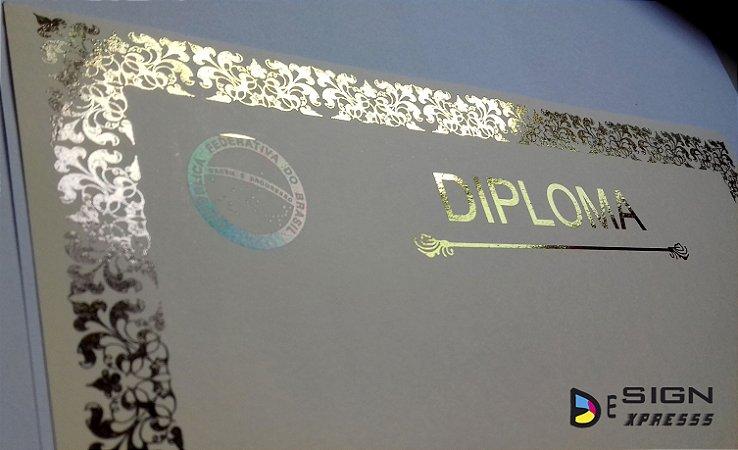 Certificado Diploma Bordas Dourada ou Prata  (Modelo 01) 250gr