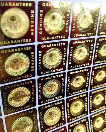 Selo Holográfico Cor Ouro Genuine Original - Modelo 04  (Quadrado)