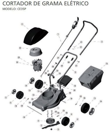Peças de Reposição Cortador de Grama Eletrico Tramontina CE35P