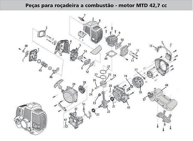 Peças Reposição Roçadeira Combustao Motor Tramontina RC43MTD