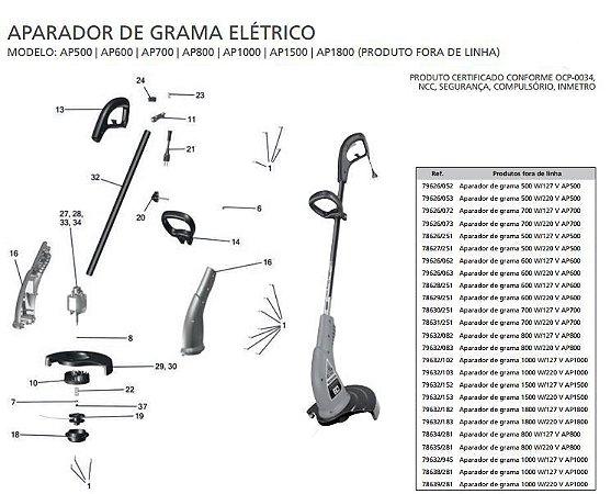Peças Reposição Aparador Grama Eletrico Tramontina AP500 | AP600 | AP700 | AP800 | AP1000