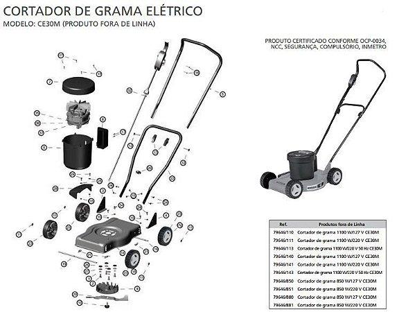 Peças Reposição Cortador de Grama Eletrico Tramontina CE30M