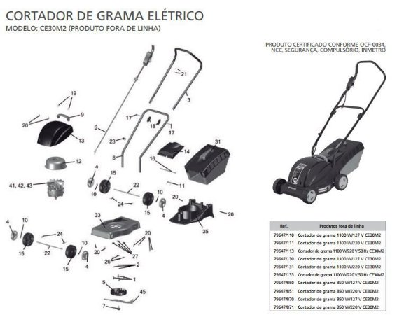Peças de Reposição Cortador de Grama Eletrico Tramontina CE30M2